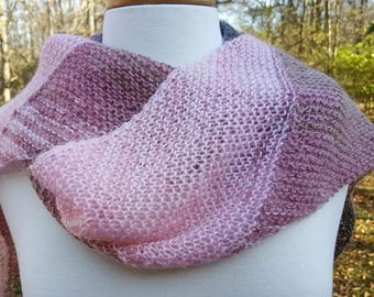 Lightweight Knit Scarf, Delicate Pink/Brown Scarf, Hand Knit Scarf, Lacey Scarf, Multicolored Scarf