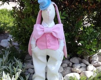 Rosa Hase Kuscheltier / Tilda Kaninchen / Rosa Hochzeit Dekor /Fabric Hase / Hochzeitsgeschenk / innen Spielzeug / Tilda Hase /Animal Puppe für jungen