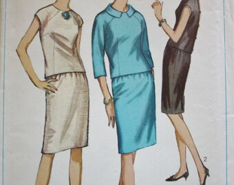 1960s Two Piece Dress Pattern, Vintage Sewing Pattern, Simplicity 6304, Bust 32