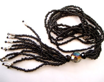 Black Beaded Tassel Necklace 4 inch long tassel on multi strand seed bead loops