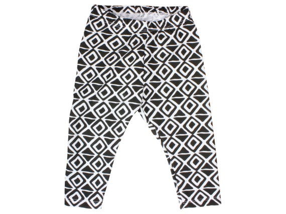 Black and White Triangle Baby Leggings Diamond Toddler Leggings Boy Leggings Girl Baby Leggings Unisex Baby Leggings Geometric Monochrome