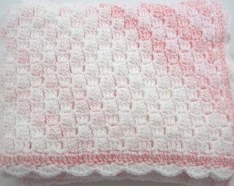 Baby Afghan, Crocheted Baby Blanket, Newborn, Baby Girl, Pink Baby Afghan, Baby Shower Gift, Christmas Gift