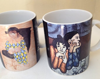 Vintage Pair of Picasso Living Arlequin et sa compagne 1901 1924 mugs- 1996