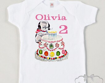 Puppy Birthday Shirt - Puppy Party Shirt - Toddler Birthday Cake Shirt - Add Name and Age Tee Retro - Girl Vintage Dog Personalized