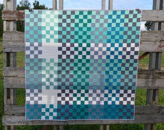 Pretty in Plaid Lap Quilt Pattern, PDF, instant download, modern patchwork, KONA Solids, blue, green, white, grey.