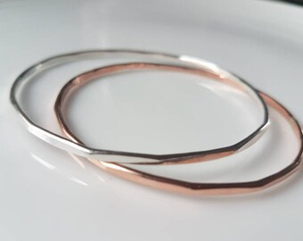 Stacking Bangle, multi edged sterling silver bangle or in a copper version. Contemporary and delicate look, made to order in Wales