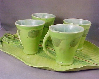 Ceramic Leaf Cup and Tray Set