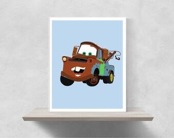 Tow Mater Minimalist Poster   Disney Poster Disney Pixar Poster Disney Minimalist Cars,Radiator Springs Lightning McQueen Cars Pixar Poster