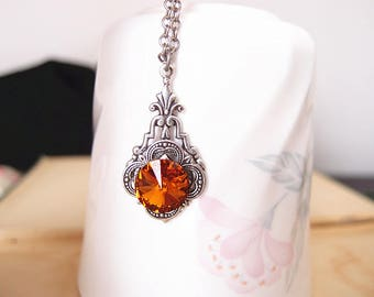 Swarovski topaz brown crystal,aged silver brass art deco necklace