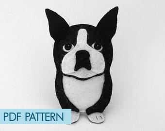 Easy to sew felt PDF pattern. DIY Boston Terrier ornament, toy.