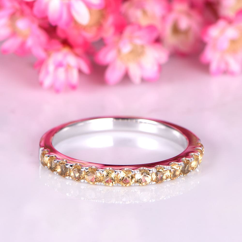 Citrine ring IF citrine wedding band 14k white gold matching