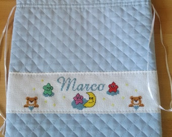 Complete bag first baby change and bib-baby cross Stitch