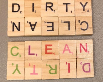 Dishwasher Clean / Dirty Scrabble Magnet Colored / Rainbow