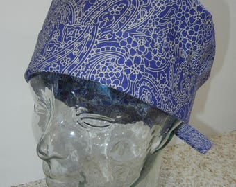 Tie Back Surgical Scrub Hat with Navy Tan Paisley