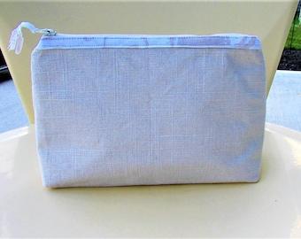 Beige Linen Makeup Bag Cosmetic Bag Clutch