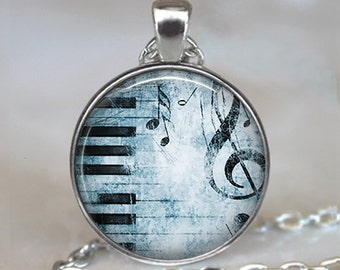 Blues Piano pendant, music necklace piano necklace music jewelry piano teacher gift music teacher gift pianist gift key chain key ring fob