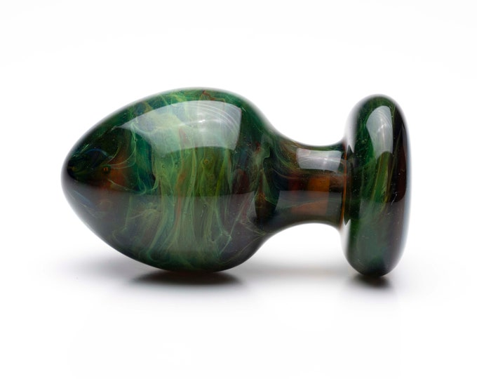 Glass Anal Plug - Medium - Green Marble