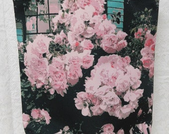 """Pink Cottage Roses on the Fence Watercolor Tote Bag, Aqua, Black Accent, 12"""" X 14""""Carryall, Storage, Travel, ECS"""