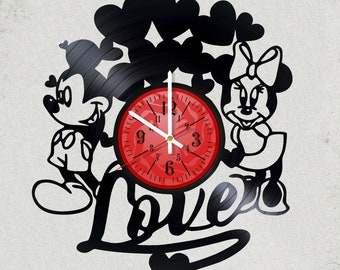 "WALT DISNEY LOVE Mickey Mouse and Mickey Mouse VINyL RECoRD CLoCK made from 12"" Vinyl Record gift for kids bedroom gift Disney child gifts"