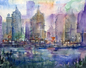 Print Of Original Watercolor City Painting, watercolor art, watercolor print, watercolor landscape, city streets, city buildings, city art.