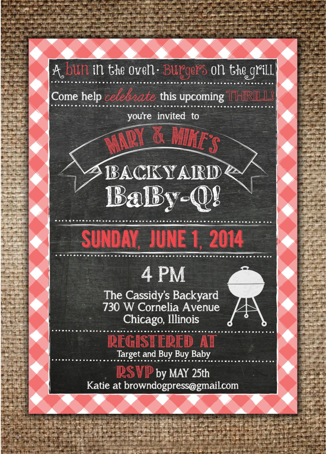 Baby Shower Invitation : Baby BBQ Backyard BaBy-Q with Red