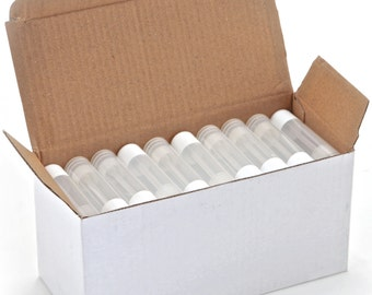 50 New, High Quality, Empty, Clear, 5.5 ml Lip balm Tubes with White Caps.