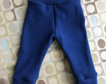 Wool Interlock Longies - Medium - Blue - Cuffed
