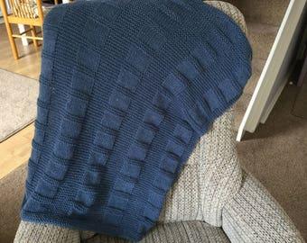 Aran Squares and Stripes blanket Knitting Pattern