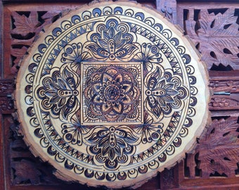 "10"" Wood Burned Mandala Slice - Handmade Wall Hanging, Pyrography Art, Buddhist Art, Bohemian Wall Art"