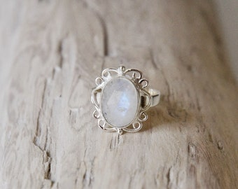 Moonstone Ring • Sterling Silver • 925 • Faceted Rose Cut Gemstone Ring