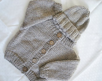 6-Months Infant Baby Sweater and Hat - Gray