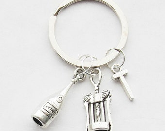 Wine Keychain, Wine Lover Gift, Wine Keyring, Wine Bottle Keychain, Corkscrew Keychain, Wine Gift, Hostess gifts, Key rings and lanyards