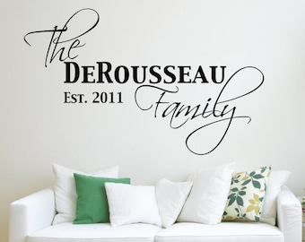 Vinyl Wall Word Decal - Family Last Name and Established Date - Home Decor - Wall Word