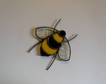 Stained Glass Bee Magnet, Bee Decoration, Glass Honey Bee, Gift for Bee Lover, Beekeeper Christmas Gift