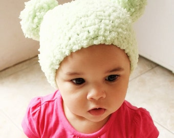 0 to 3m Newborn Pom Pom Hat Green Baby Hat Baby Shower Gift Unisex Lime Green Pom Pom Beanie Girl Boy Newborn Hat Photo Prop
