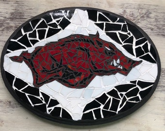 Arkansas Razorback Red and Black stained glass mosaic plaque