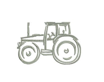 Farm Tractor Embroidery Design - outline only no applique - instant download