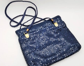 ON SALE Vintage Navy Blue Metal Mesh Pursh With Gold Accents - Like New Condition