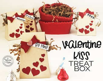 KIT Valentine's Day Kiss Treat Box / Party Favors/ Co-Workers Treats / Employees Treats / Neighbor Treats /Treat Box/ Kids Classroom Treats