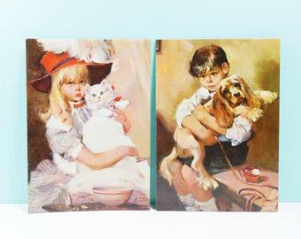 Vintage Pair Lithograph Prints, Rico Tomaso Prints, On the Mend, Anxious Moments, Boy with Dog, Girl with Cat, Set of Donald Art Co Lithos
