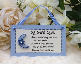 """B59 Personalised Cousin, Friend, Birthday, Thank you, Christmas Gift Plaque """"I really am so lucky, and thank the stars above ..."""""""