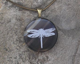 Earthy Dragonfly Necklace Fused Glass Dragonfly Pendant