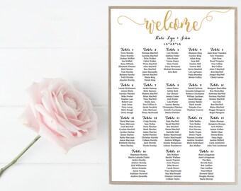 Wedding, Seating Chart, Guest List, Sign, Wedding, Black, White, Gold, Elegant, Simple, Formal, Decor, Custom, Script