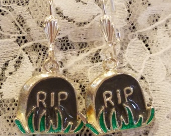 RIP Tombstone Dangle Earrings
