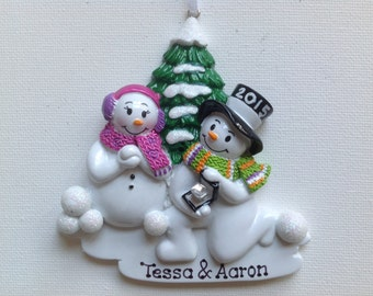 She Said Yes , Will You Marry Me, We;re Engaged Snowman Couple's Engagement Personalized Christmas Ornament