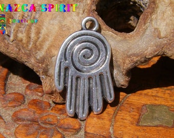 """10 pendants Indians """"Nazca hand"""" engraved in Metal Silver aged 2.5 cm x 1.5 cm"""