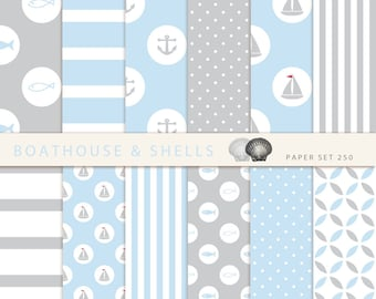 SAIL LIGHTBLUE & GREY Scrapbooking digital paper pack - 12 digital papers with fish/anchor/boat print- instant download - printable - 250