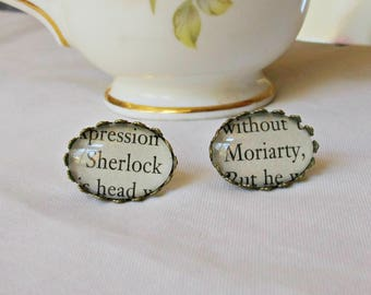 Sherlock Holmes Earrings For Women - Gift Jewelry Jewellery Ear Studs Bookworm - Handmade Bookish Consulting Detective Moriarty - Literature