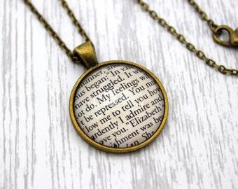 Jane Austen, 'You Must Allow Me To Tell You How Ardently...', Mr Darcy, Pride and Prejudice Quote Necklace or Keychain, Keyring.