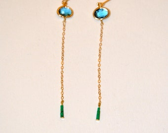 Gold plated long earrings with micro Turquoise and blue Quartz